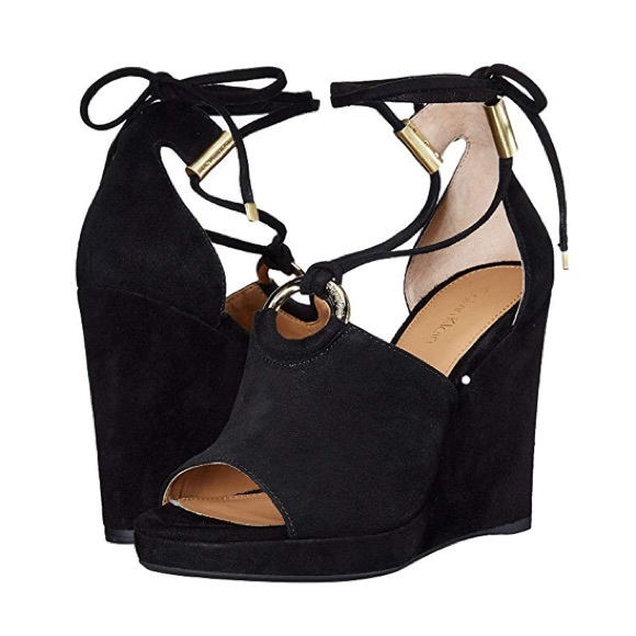 ab3d491ca34 Calvin Klein // Black Ramona Ankle Wrap Wedge Heel